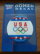 """US OLYMPIC RINGS USA USOC OFFICIAL DOMED DECAL 3"""" FULL COLOR MADE IN USA"""