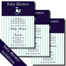 Preppy Whale Baby Shower Printable Invitations