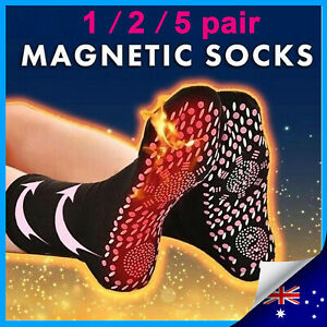 Unisex Magnetic Health Self Heating Tourmaline Foot Care Therapy Warm Black Sock