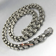 "28"" Men's Heavy Vintage Stainless Steel Skulls Cuban Chain Link Biker Necklace"