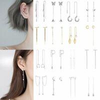 Fashion Crystal Long Tassel Cuff Earrings Ear Line Clip Threader Drop Dangle Hot