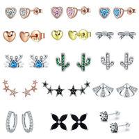 Voroco High Quality 925 Sterling Silver Ear Stud Earrings Fashion Women Jewelry