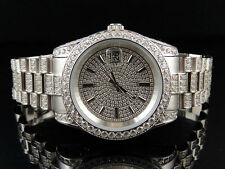 18K White Gold Mens Steel Simulated Iced Diamond Presidential Watch 36MM PR-01