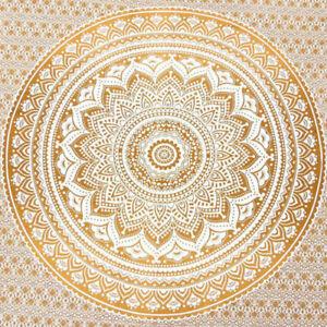 Ombre Mandala Indische Tagesdecke Wandbehang Yoga Tuch 210X230cm Ocker Braun