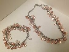 Ann Taylor Pink Tourmaline, Crystal and River Pearls Necklace and Bracelet Set
