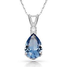 3.05CT Pear Shape Aquamarine 2 Stone Gemstone Pendant & Necklace 14K White Gold