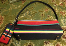 STRIPPED CANVAS PURSE WITH MATCHING PEPPER SPRAY HOLDER ON THE SIDE