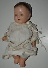 "Aged Antique Preemie 13"" Baby Girl Composition Doll Eyes Close Good Fair Rare"