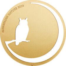 Eagle Owl Moon Gold Gilded Silver Coin 500 Togrog Mongolian Nature Mongolia 2016
