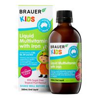 Brauer Kids Liquid Multivitamin with Iron 200mL Oral Liquid 3 Years+ Children's