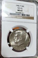 "🌟 RARE NO ""FG"" 🌟 MS-65!!! 1982-P Kennedy Half Dollar JFK NGC Rare variety"