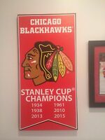 2015 Stanley Cup banners canvas 14x28 Chicago Blackhawks Frameworth