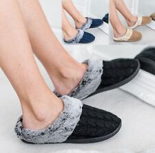 LADIES WOMENS COMFY WARM FLEECE LINED COTTON SLIP ON FLUFFY CLOG SLIPPERS MULES