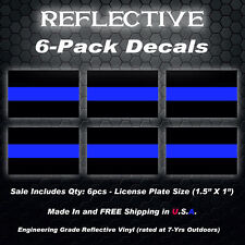 PACK OF 6 REFLECTIVE POLICE BLUE LINE Decals Stickers Trooper 7-Yr Rated 0259