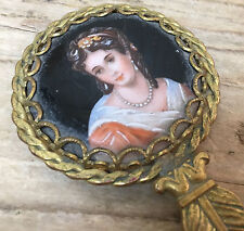 Antique Hand Mirror Victorian Bust Woman Black Enamel Leaf Lady w Pearls Painted