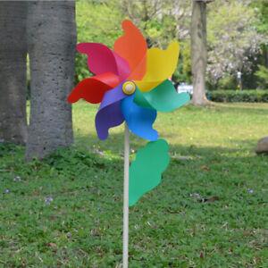 Rainbow Field Windmill Pinwheels Wind Spinner Outdoor Field Garden Decor