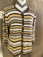 Womens Alfred Dunner Size large Striped Button Up Sweater Sleeve