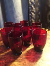 8 Vintage Anchor Hocking Royal RUBY RED Footed Tumbler