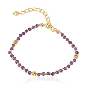 Beaded Amethyst Gemstone Yellow Gold 925 Silver Designer Bracelet Jewelry