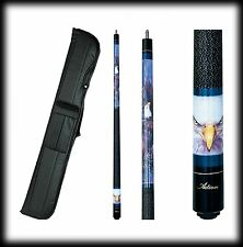 New Action ADV99 Pool Cue Stick - Blue w/American Bald Eye 18 - 21 oz & Case