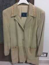 NG ITALY GIACCA LUNGA DONNA 44 IN RENNA/PITONE BEIGE !!! COME NUOVA!!