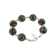 Glass Pink & Blue Floral Beads Silver Bracelet with Swarovski Elements Crystal