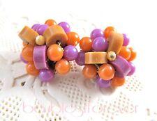 Vintage Purple & Ochre Plastic Barrel Bead Cluster Clip Earrings So Cute!