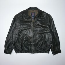 Chaps Men's Vintage Brown 100% Leather Jacket Size XL Good Condition