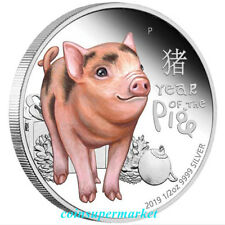 2019 Lunar Year Cute Baby Pig 1/2oz Colorized Silver Proof Coin Perth Mint OGP