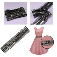 45mm Lace Ribbon Diamante Gunmetal Iron On Pyramid Stud 2 Row for Leather Shoes