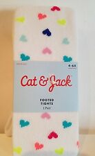 Girls Cat & Jack Brand White Cotton Blend Tights with Colorful Polkadots 4-6X