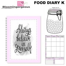 12wk Food Diary Slimming World Compatible Weight Loss Tracker- BkK Grey & P Bel