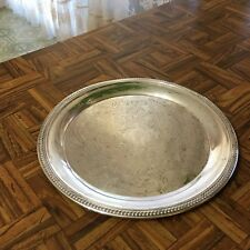 """Vintage 1883 F.B. Rogers Silver Co Silverplate Round Ornate Tray 12 5/8"""""""