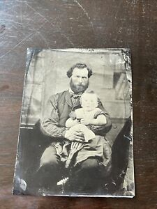 Full plate Tintype a father and child