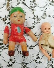TWO VINTAGE JOINTED CELLULOID DOLLS BABY AND BOY