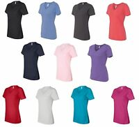 Bella Ladies Size S M L XL 2XL Missy Short Sleeve V-Neck T-Shirt Womens b6405