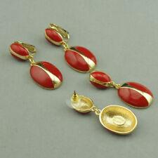 Pendientes pendientes Dorado Gota Esmalte Rojo Clase EE10
