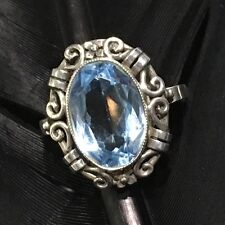 AUTHENTIC ART DECO ESTATE STERLING SILVER TOPAZ FORGET ME NOT BAND RING SZ 7.5