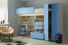 Hochbett Schönberg weiß-blau Kinderbett Etagenbett Matratze 90x200