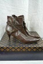 PATRICK COX brown leather ankle boots IN BOX 38.5 studded straps pointy toe