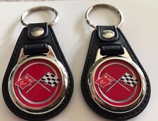 CORVETTE KEYCHAIN 2 PACK RED FOB KEY TAG