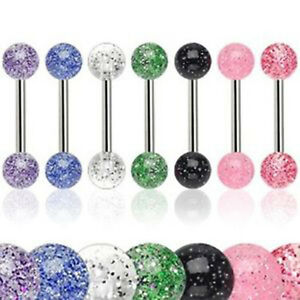 New Fab Lot 7 x Glitter Tongue Bars Piercing Tounge Bar UK SELLER Nipple Bar UK