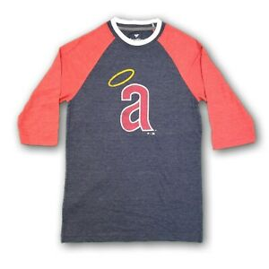 Anaheim Angels MLB Fanatics Men's 3/4's Sleeve Red/Navy Blue T-shirt