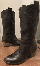Zara Trf Marron Chocolat Mi-mollet En Cuir Cowboy Western Bottes Taille 36