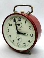 Sveglia Vintage KIENZLE Rossa Orologio da Tavolo Alarm Clock 50 Deutscher Wecker