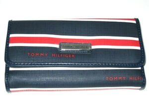 NIB Tommy Hilfiger Navy Red Stripe Coated Canvas Checkbook Trifold Wallet New