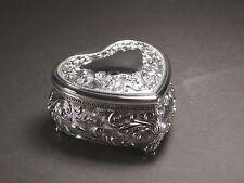 Heart Shape Silver Color Jewellery Trinket Box Storage Treasure Chest / Box #4
