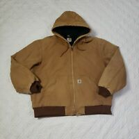 Carhartt Tan Canvas Quilted Lining Full Zip Jacket Made in USA 125 Years Size XL