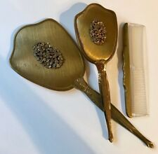 Vintage 3 Piece Gold Tone Brass Dresser Vanity Set with Floral Metal Motif