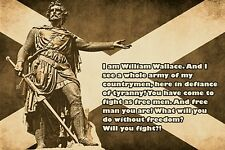 historic figure quote poster WILLIAM WALLACE SCOTTISH INDEPENDENCE 24X36 hot